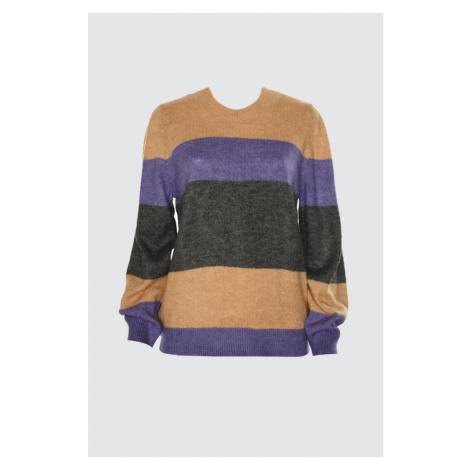 Trendyol Purple Color Block Knit Sweater