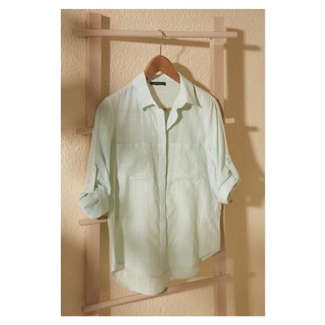 Trendyol Mint Pocket Detailed Shirt
