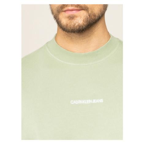 Calvin Klein Jeans Bluza Embroidered Logo Crew Sweat J30J314691 Zielony Regular Fit