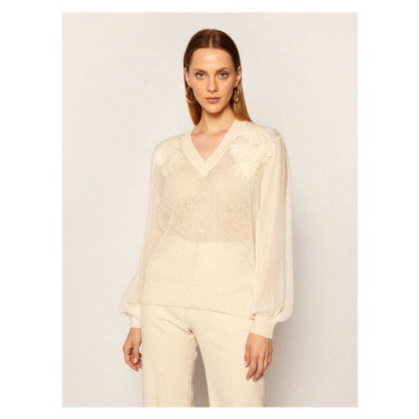 TwinSet Sweter 202TP3260 Beżowy Regular Fit