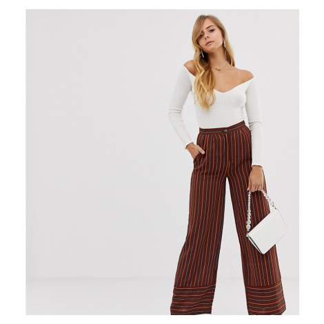 Boohoo wide leg tailored trousers in stripe
