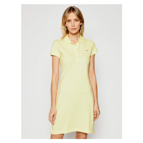 Tommy Hilfiger Sukienka codzienna Pique WW0WW27949 Żółty Slim Fit