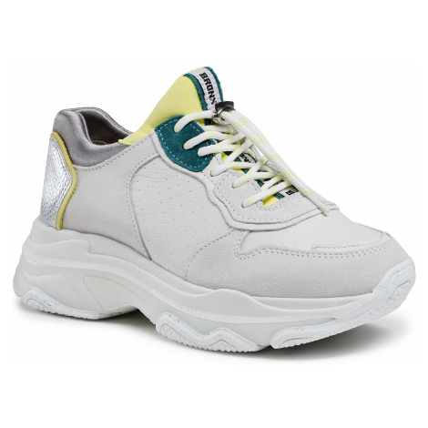 Sneakersy BRONX - Baisley 66167C-A Off White/Yellow/Teal 3432