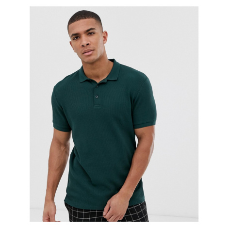 ASOS DESIGN jersey waffle polo in green
