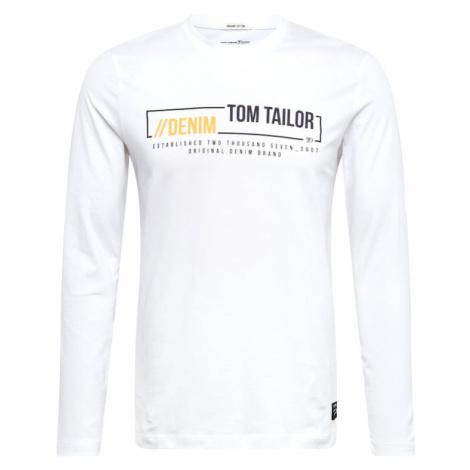 TOM TAILOR DENIM Koszulka biały / pomarańczowy / czarny