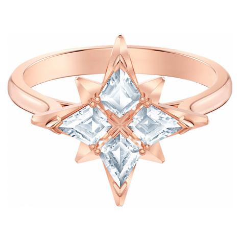 Pierścionek z motywem gwiazdy z linii Swarovski Symbolic, biały, w odcieniu różowego złota