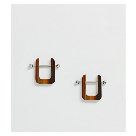 ASOS DESIGN resin earrings with silver tone bar detail