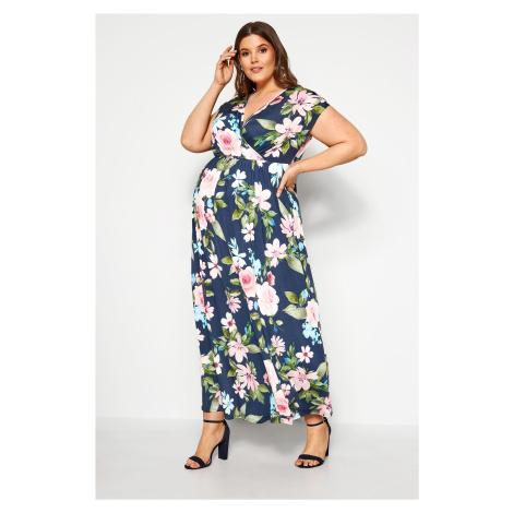 Duży Rozmiar BUMP IT UP Granatowa sukienka maxi w kwiaty