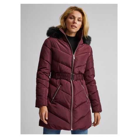 Burgundy quilted winter coat Dorothy Perkins