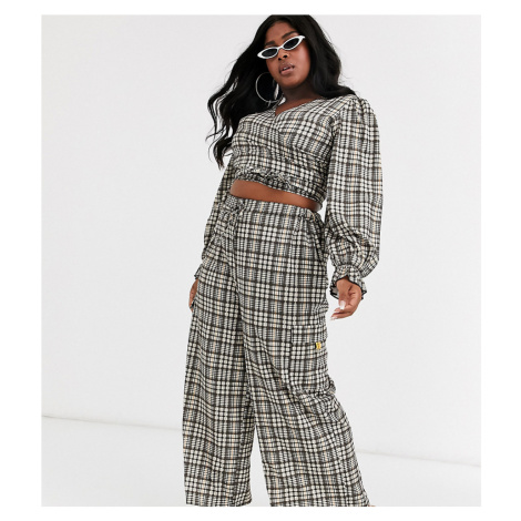 New Girl Order Curve high waist drawstring trousers in heritage check co-ord