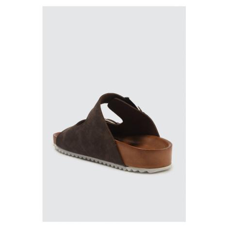 Trendyol Brown Nubuk Looking Podwójna klamra damski pantofel