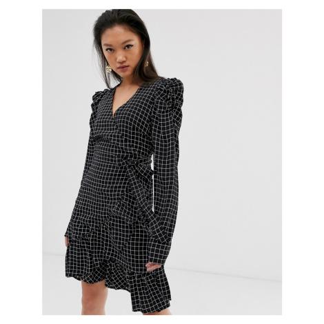 Gestuz Denice check print wrap mini dress with puff sleeves
