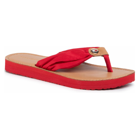 Japonki TOMMY HILFIGER - Leather Footbed Beach Sandal FW0FW00475 Primary Red XLG