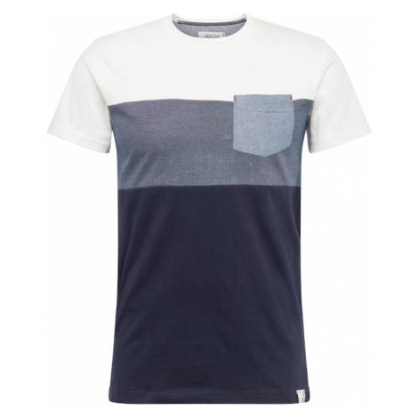 INDICODE JEANS Koszulka 'Clemens' biały / ciemny niebieski
