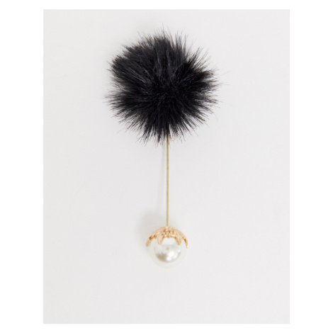Devils Advocate faux fur lapel pin with pearl end