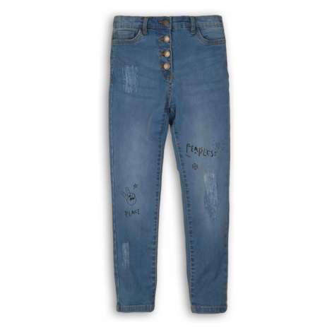Spodnie dziewczęce jeansowe z przetarciami i nadrukami- niebieskie Minoti