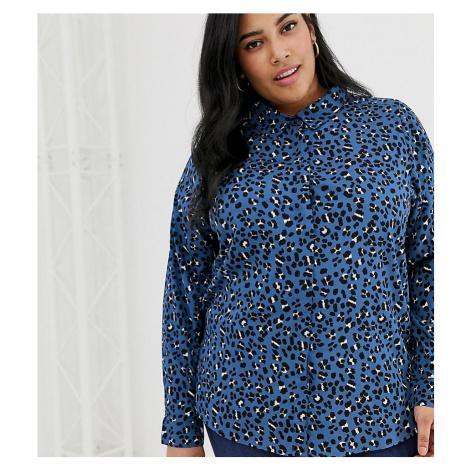 Brave Soul Plus poppy shirt in leopard print