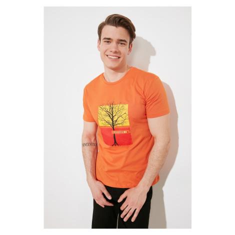 Modsymol Tile Męskie paski z nadrukiem T-shirt z krótkim rękawem Trendyol