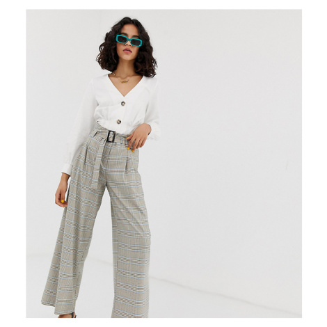 River Island high waisted wide leg trousers in check