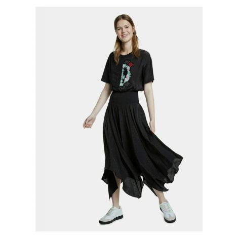 Czarna wzorzysta sukienka midi Desigual Noosa