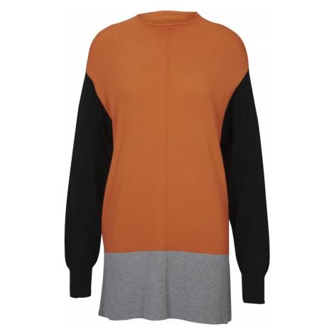 Heine Sweter szary / pomarańczowy / czarny