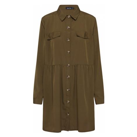 Boohoo Sukienka koszulowa 'Button Through Smock Shirt' khaki