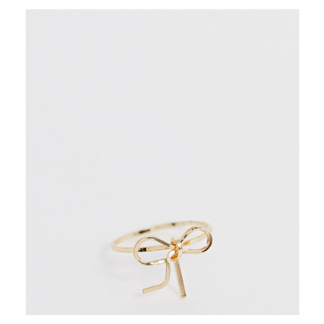ASOS DESIGN Curve pinky ring in bow design in gold tone