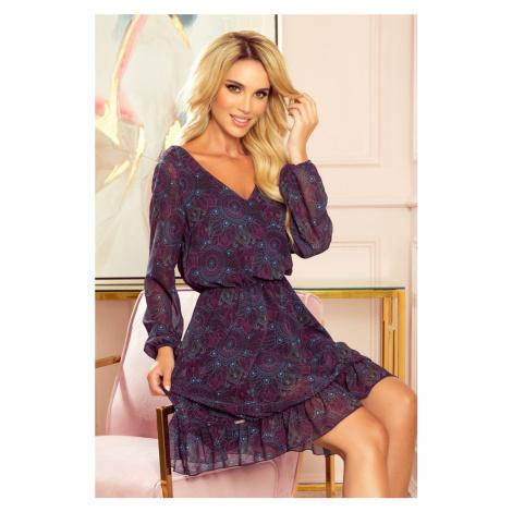 295-4 BAKARI zwiewna szyfonowa sukienka z dekoltem - różowo-niebieskie MANDALE NUMOCO