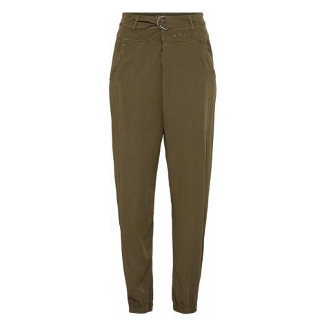 Cream Spodnie 'Paisley' khaki