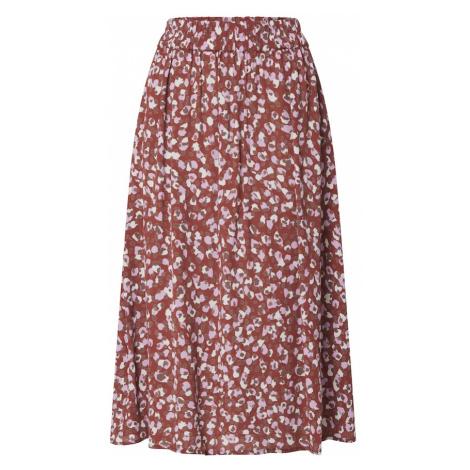 PIECES Spódnica 'RAYA' kasztanowy / biały / jasnofioletowy