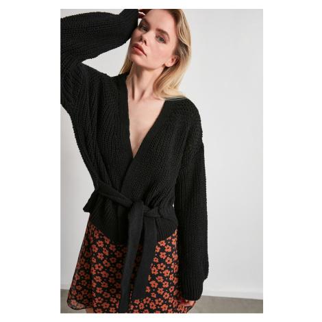 Trendyol Black Side Binding Detailed Knitwear Cardigan