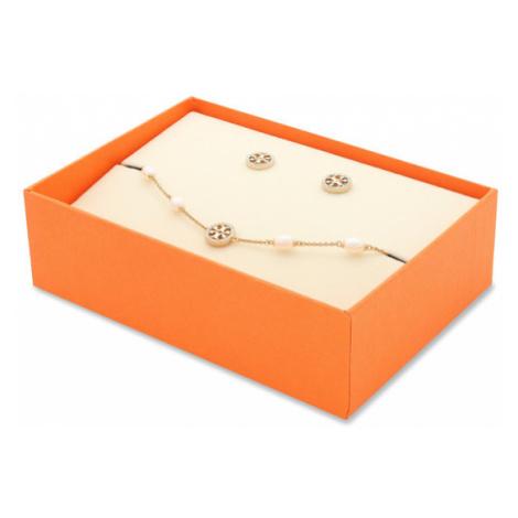 Tory Burch Zestaw bransoletka i kolczyki Miller Pave Bracelet And Stud Earring Set 80319 Złoty