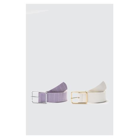 Trendyol Multicolor 2 Pack Croco Leather Looking Metal Buckle Belt