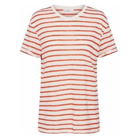 ONLY Koszulka 'onlLIN S/S STRIPE T-SHIRT JRS' rdzawobrązowy / biały