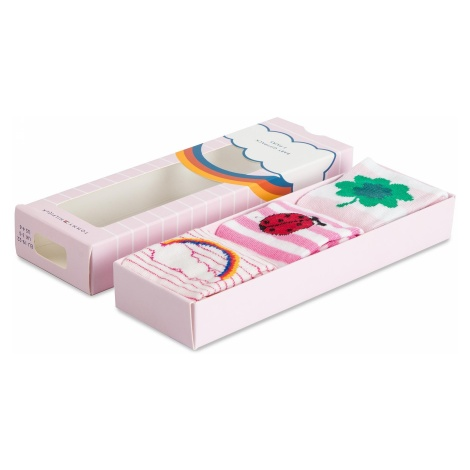 Zestaw 3 par wysokich skarpet dziecięcych TOMMY HILFIGER - 385005001 Pink Lady 422