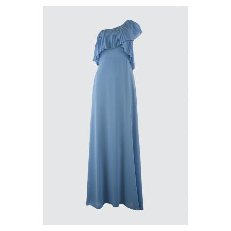 Trendyol Niebieski rękaw szczegółowe szyfonowa suknia wieczorowa & graduation sukienka