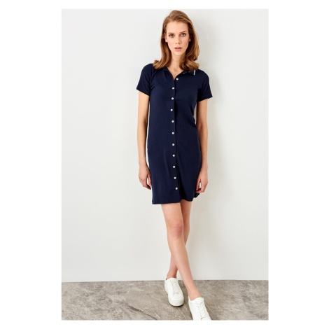 Trendyol Dark Blue-Button Corded Knit Dress