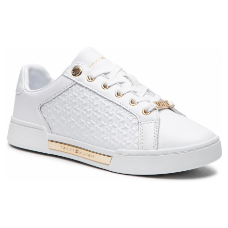 Sneakersy TOMMY HILFIGER - Th Monogram Elevated Sneaker FW0FW05549 White YBR