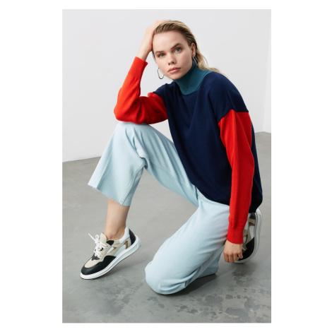 Bluza z dzianinami Trendyol Navy Turtleneck Color Block Knitwear