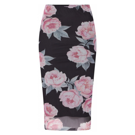 NEW LOOK Spódnica 'GO PEARL BLOOM MESH INSERT SKATER' różowy pudrowy / czarny