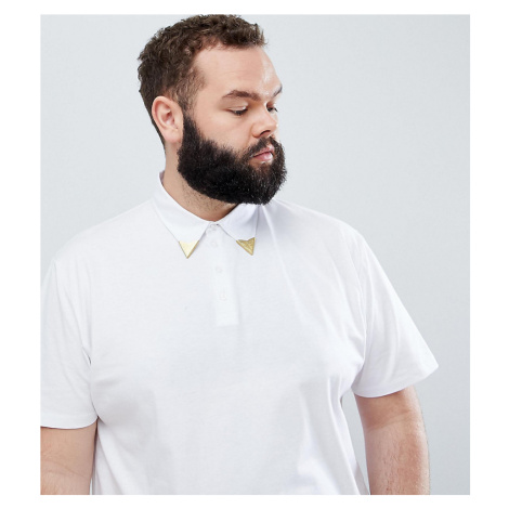 ASOS DESIGN Plus relaxed polo shirt with western collar tips in white