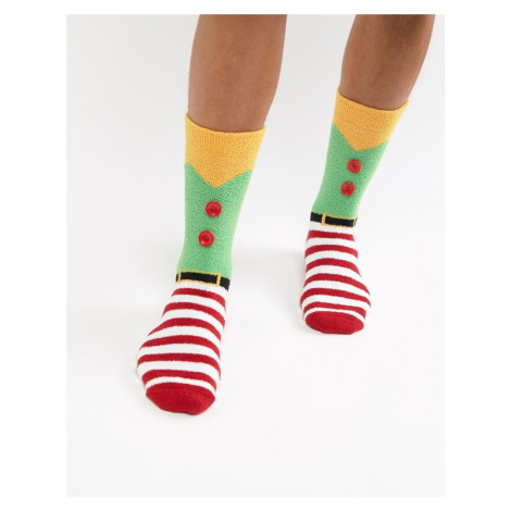 ASOS DESIGN Christmas socks in elf costume design with fluffy lining