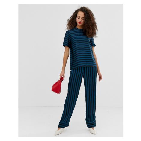 Pieces Tika stripe wide leg trousers