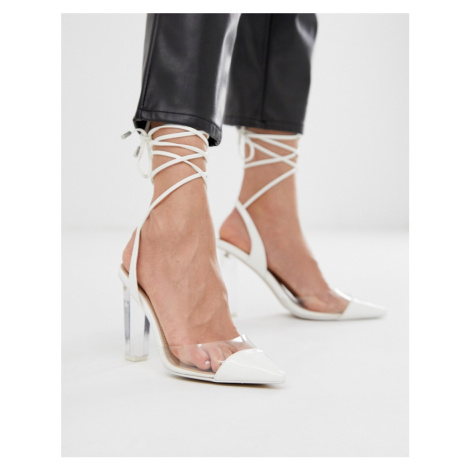 ASOS DESIGN Pucker Up tie leg pointed high heels in white/clear