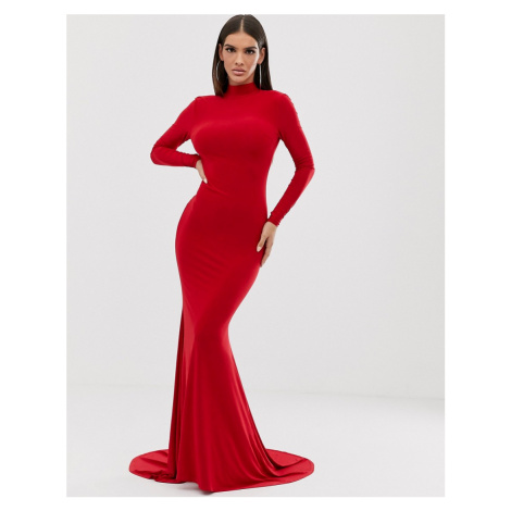Club L high neck long sleeve fishtail maxi dress with open back thong detail in red