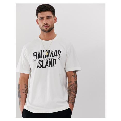 Pull&bear t-shirt with Bahamas island print in stone Pull & Bear