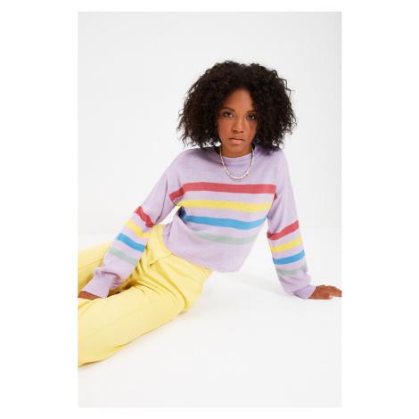 Trendyol Liliowy sweter z dzianiny w paski