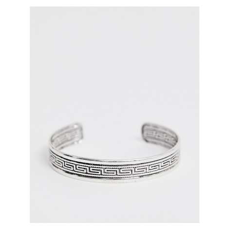 ASOS DESIGN bangle with column emboss in burnished silver tone
