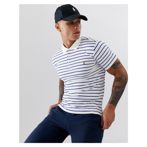 Polo Ralph Lauren multi player logo stripe pima cotton polo slim fit in white/blue