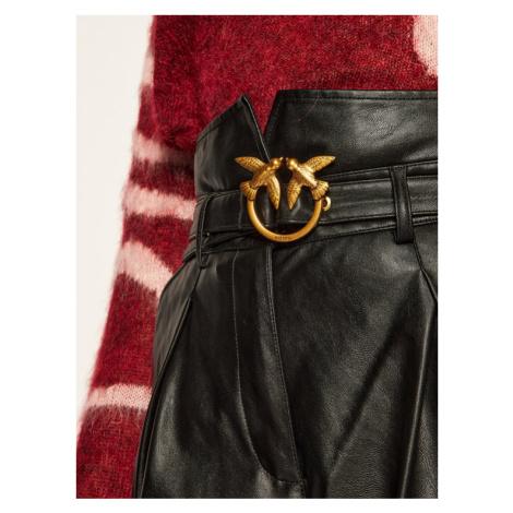 Pinko Spodnie skórzane Aurelio Al 20-21 BLK01 1G1521 Y6BE Czarny Regular Fit